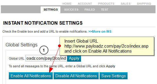 2Checkout Notification Global Settings